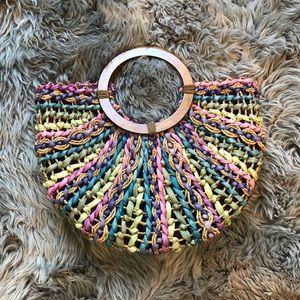 🆕CAPPELI multi color straw beach handle bag purse